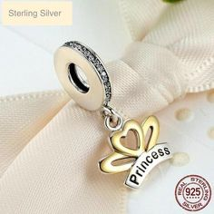 Gold Heart & 925 Sterling Silver Love Charms My Princess Crown Charms Pendant fit Pandora Charm Bracelets DIY Jewelry Making Pandora Style Charms, Pandora Bracelet Charms, Love Charms, Charm Bracelets, Jewelry Sets, Fine Jewelry, Jewellery, Golden Princess, Princess Charming