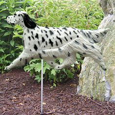 4 Coat Styles-English Setter Dog Figure Garden Stake. Home Yard Dog Breed Products & Gifts.