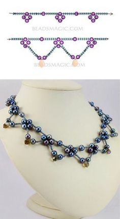 Free pattern for necklace Corina - Perlen Schmuck Bead Jewellery, Seed Bead Jewelry, Jewelry Making Beads, Fine Jewelry, Seed Beads, Jewelry Rack, Jewellery Making, Beaded Necklace Patterns, Beaded Bracelets