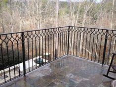 Exterior wrought iron railings are perfect for your outdoors. Exterior wrought iron railings are perfect for your outdoors. Wrought Iron Porch Railings, Garden Railings, Front Porch Railings, Patio Railing, Metal Railings, Wrought Iron Fences, Patio Stairs, Porch Columns, Porch Steps