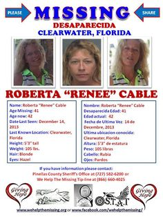 "Roberta ""Renee"" Cable missing since December 14, 2013 from Clearwater, Florida. #www.wehelpthemissing.org"