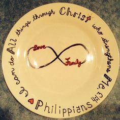 Thank you Pinterest!  Home made gift. $1 plate, some sharpies & the oven.