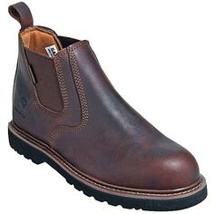 Carhartt Boots CMS4100 Mens 4-Inch Brown Laceless Non-Slip Work Boots