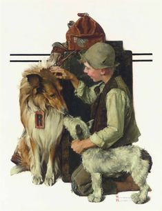 Boy with Two Dogs (Raleigh Rockwell Travels), oil on canvas. c.1929