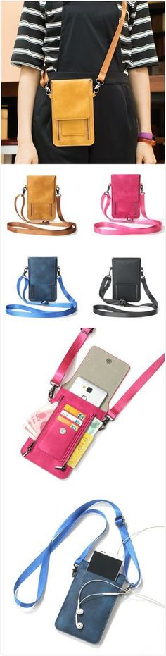 [$ 14.78] Vintage PU Leather Card Holder 5.5inch Phone Bag Shoulder Bag Crossbody Bags