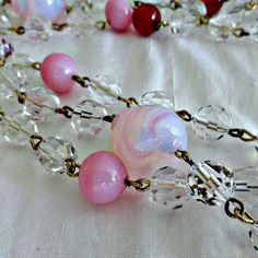 Czech Flapper Glass Bead Necklace circa by SilverFoxAntiques