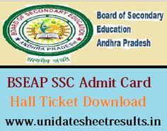BIEAP SSC Hall Ticket 2018 AP Board 10th Roll No Slip Download Bseap Ssc