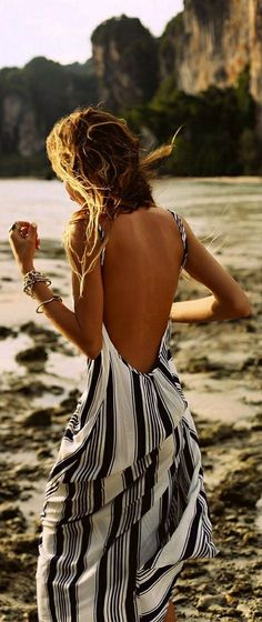 Black and white stripes maxi dress // vertical LOVE