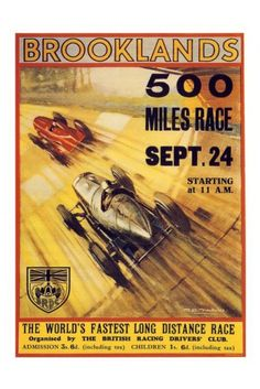Brooklands 500 Mile Race Print 1930s - Vintage Motor Sport Posters - Retro Posters iPosters £7.99