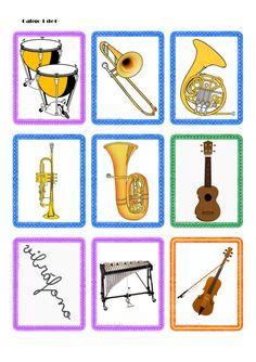Tarjetas de instrumentos musicales Instruments, Reading Words, Kindergarten Art, Bingo, Ideas Para, Musicals, Presentation, Coding, Education
