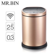 MR.BIN Smart Sensor Trash Can Stainless Steel Induction Dustbin Environmentally Plastic Home Automatic Waste Bin WB-SS002 8L