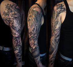 龍 - Dragon Full Sleeve Dragon Tattoo... Not My Photo... Just My Arm... :) Tattoo Artist is Tony Hu http://instagram.com/tonyhutattoo ===