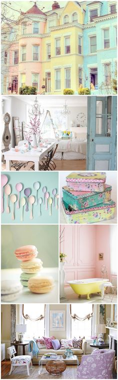 Pastels have taken over fashion this spring and are predicted to make an appearance in home decor in 2014. As I type this post with patches of dirty snow still on the ground, I find the idea of painting my surroundings the soothing shades of easter eggs perfectly delightful! I am so very ready to usher in spring and be done with the dreary grays and browns of winter. Let's explore some ways to use pastels within the home!