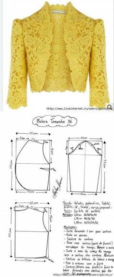 Кружевной пиджак Sewing Pattern/ lace Jacket or bolero. Cute over jeans or a dress! Bolero Pattern, Jacket Pattern, Pattern Skirt, Blazer Pattern, Jumpsuit Pattern, Diy Clothing, Sewing Clothes, Dress Sewing Patterns, Clothing Patterns
