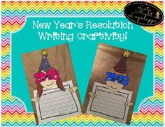 This is a super cute New Years Resolution Craftivity! Teachers can either print pieces on colored construction paper or print on white paper for kids to color. The students will write about their New Year's Resolution and then cut and glue pieces together!