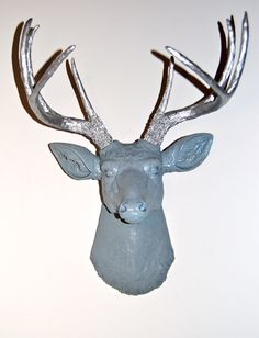 Faux Deer Head - Blue Gray and Silver Antlers - Deer Head Antlers Fake Taxidermy Wall Mount