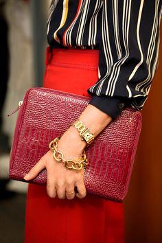 Smythson iPad case. Cartier tank watch. DvF by H.Stern gold link bracelet.