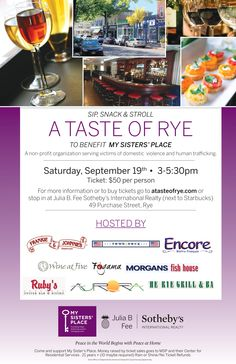 Join us on Sept 19th! http://bit.ly/1NJHWDN This restaurant crawl will treat guests to an array of appetizers and drink selections offered by 9 local restaurants.  Together, we are raising awareness around the issues of domestic violence and human trafficking.  All proceeds will benefit the critical life-changing programs and services of My Sisters' Place.