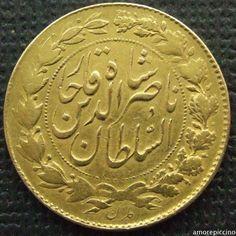 Persia, Qajar dynasty Naser al-Din Shah Qajar, Gold, Two Toman, Tehran; 1299 AH