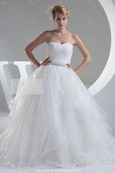 Zipper-back Misses Satin A-Line Sleeveless A-line Wedding Dress -Wedding & Events-Wedding Dresses-A-line Wedding Dresses