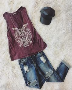 Forever wishing for summer weather  Distressed Muscle Tee Chase Cropped Jeans Leather Baseball Cap-Grey