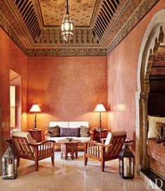 The seating in the ground-floor salon is made of thuya wood; the walls are…