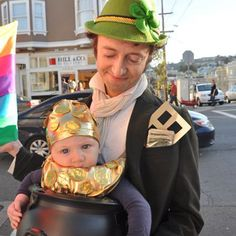Show off how lucky you are to have your sweet pumpkin with this pot o' gold costume idea. Let Dad (or Mom!) dress up as the leprechaun and harness your babe in the pot with a carrier.