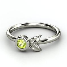 Evan's Birthstone in an absolutely beautiful ring!    Boutonniere Ring, Round Peridot Sterling Silver Ring from Gemvara