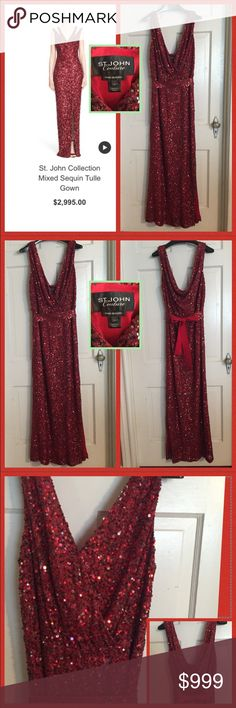 St. John Couture Hand Beaded Silk Gown. Size 10 St. John Couture Hand Beaded Silk Gown. Size 10. This gown is absolutely stunning. Purchased at Saks Fifth Avenue for a benefit. Worn once. Still in new condition. Gown is similar to the current gown still on their website  in picture 1 and has same form and slit in side. Top is draped v neck with a snap closure so you don't bust out of it. Tie at waist is also hand beaded with ribbon detail. Gown is 60% nylon, 30% viscose 10% metallic. Silk…