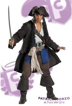 Disfraz de Capitán Jack Sparrow Edicion Prestigio incluye la chaqueta, camisa de pirata, chaleco, correa en el pecho atravezada con la hebilla, dos cinturones con hebilla, pantalones y los cubrebotas. También incluye el sombrero y el pañuelo con trenzas adjuntas y la espada. Adicional trae aplique de Barba y Bigote para mejorar el personaje. Traje con licencia oficial de Disney. Tallas Standar (38-40) Talla XL (42-46).