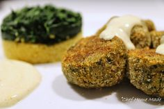Polpette Veg avocado & spinaci con yogurt e cous cous al curry