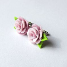 Small Stud Rose Flower Leaf Pink Spring Summer Dress Accessories Romantic Statement Wedding Woman Bridal Bridesmaid Party Earrings Jewelry