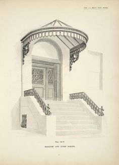 One of hundreds of thousands of free digital items from The New York Public Library. Grill Design, Shed Design, Art Nouveau, Iron Pergola, Door Gate Design, Patio Canopy, Porche, Wrought Iron Gates, Canopy Design