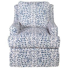 Society Social Quinn Club Chair - Les Touches Designer Fabric Blue By ($2,349) ❤ liked on Polyvore featuring home, furniture, chairs, accent chairs, fabric accent chairs, blue fabric chair, blue accent chair, upholstery chairs and blue club chair