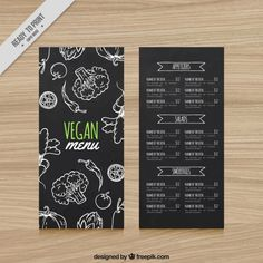 Vegan restaurant menu in blackboard style Free Vector