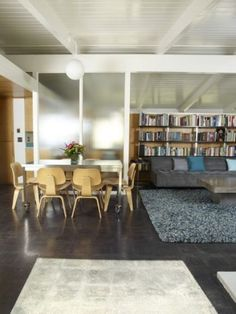 translucent glass, concrete floor, nice dinette - Cliff May ranch house