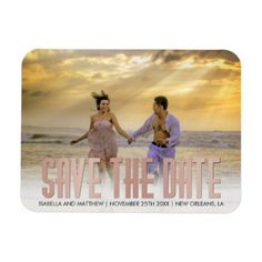 #createyourown - #Your Own Rose Gold Save The Date Pic Magnet