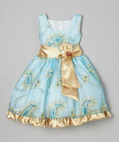 Another great find on #zulily! Blue  Gold Paisley Sequin Dress - Infant, Toddler  Girls by Kid Fashion #zulilyfinds