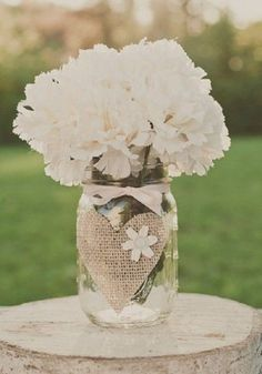 rustic burlap wedding centerpiece
