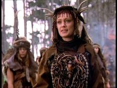 Amazon shamaness Yakut from Xena. Headress and apparel is very similar to Siberian tribal shaman clothing.