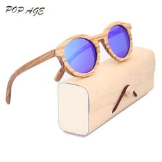 96f1779e027b7d Günstige Holz Sonnenbrille Frauen Runde Brillen UV400 Polarisierte Blau  Sonnenbrille Retro Lentes de sol Hombre Frauen