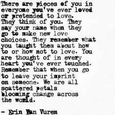 There are pieces of you in everyone you've ever loved or pretended to love.  - Erin van Vuren