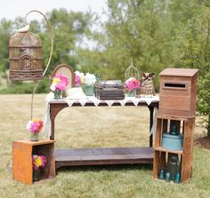 My Wedding...Gift Table Vignette. Antique Typewriter, Lace, etc.