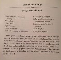 Spanish Bean Soup - From the Columbia Restaurant Cookbook