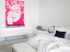 This sassy Marilyn Monroe portrait in pink adds the right amount of hue to this otherwise sleek white bedroom--ideal for the modern Marilyn. By Millennium Cabinetry, Michigan. Modern Bedroom Furniture, Contemporary Bedroom, Custom Furniture, Bedroom Decor, Bedroom Ideas, Furniture Ideas, Bedroom Designs, Glam Bedroom, Marilyn Monroe Bathroom