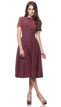 50s Bow Dress Plum New Look 1950s Hourglass Button Up Fitted Pin Up Short Sleeve Tea Length Vintage Day Dress Extra Small XS. $110.00, via Etsy.