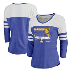 e34264b4b Women s Golden State Warriors Fanatics Branded Heathered Royal 2017 NBA  Finals Champions Repeat 3 4