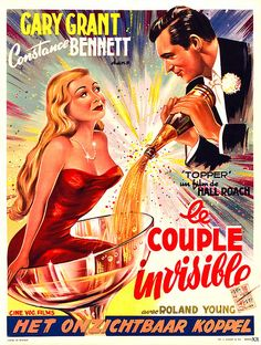 """A French movie poster for 1937's """"Topper"""" starring Cary Grant"""