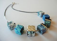 """""""Out of the Blue"""" - polymer clay necklace by Sonya Girodon."""