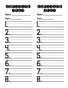 Primary spelling test paper that can be printed front to back. It has space for 10 spelling words and 2 challenge words. Spelling And Handwriting, Spelling Words, Sight Words, Phonics Flashcards, Spelling Worksheets, Spelling Test Template, First Grade Spelling, Teacher Boards, Kindergarten Lesson Plans